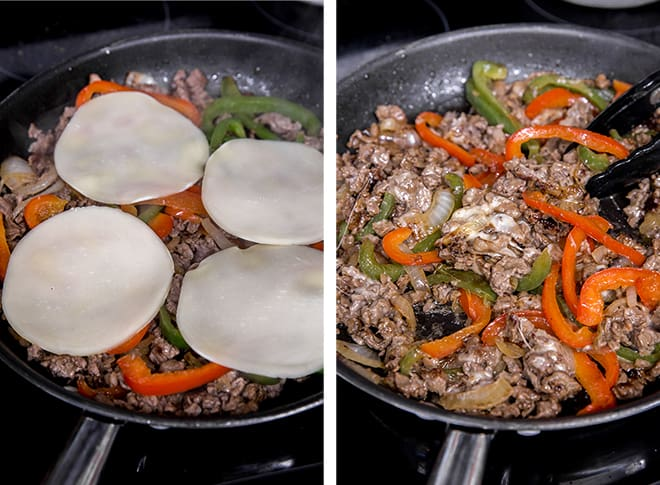 Two in process images showing sliced provolone melting into the beef and veggie mixture in the pan.