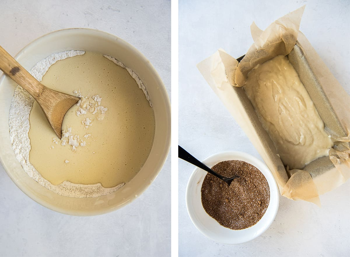 Two in process images showing the batter being mixed in a mixing bowl. The batter in a loaf pan with the cinnamon sugar mixture nearby.