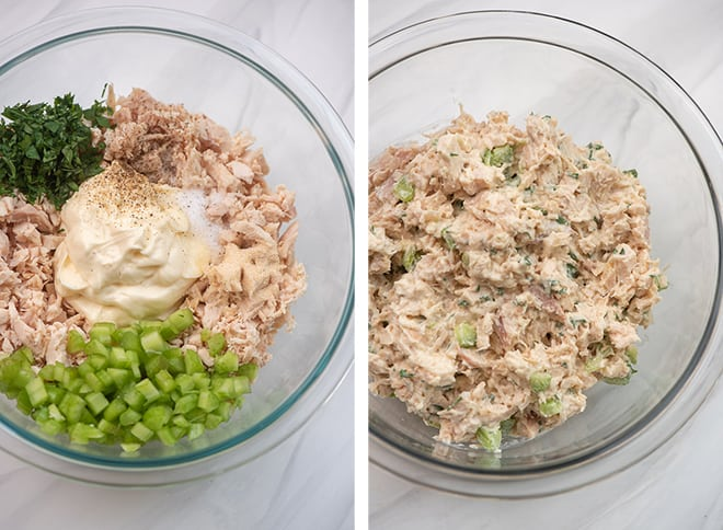 Two in process images showing the Classic Chicken Salad ingredients being mixed together in a glass mixing bowl.