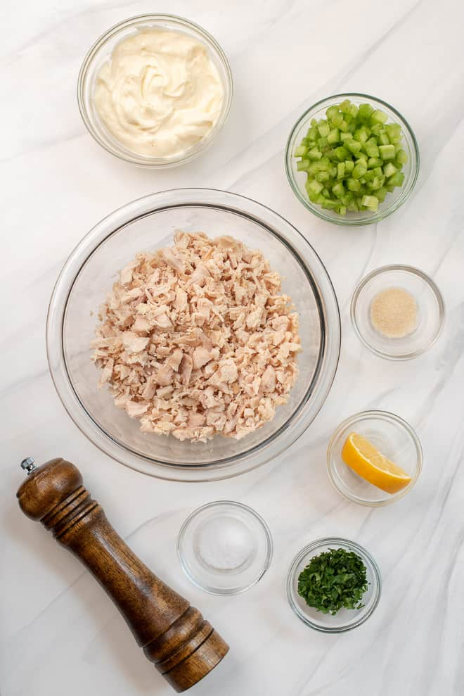 The ingredients - chopped cooked chicken, mayonnaise, celery, onion powder, lemon, parsley, salt and pepper.