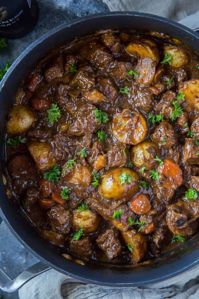 A close up overhead image of Guinness Beef Stew in a large pot.