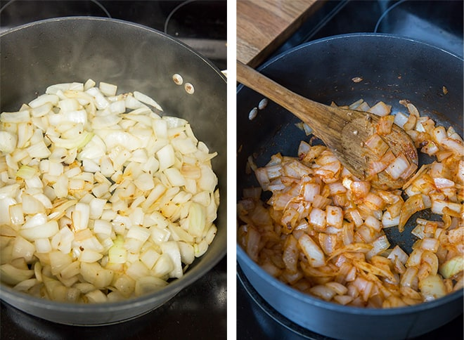 Two in process images showing onion being sauteed with tomato paste in a skillet.