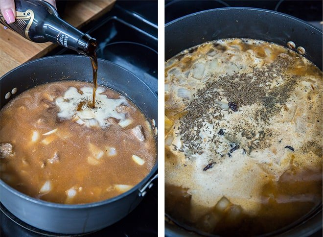 Two in process images showing a bottle of Guinness being poured in the skillet. The seasonings are added.