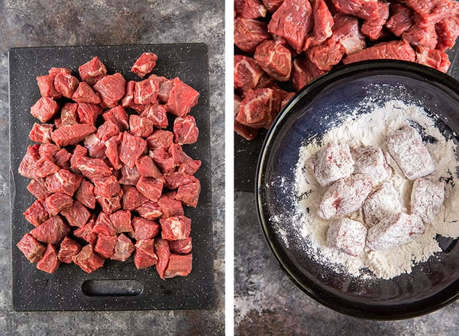 Two in process images showing beef stew meat on a cutting board and being tossed in flour.