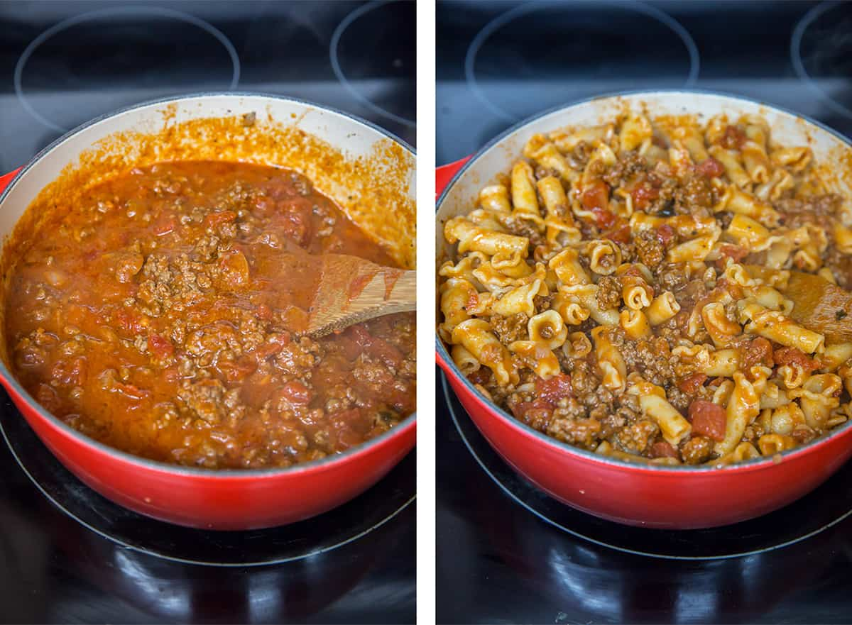 Two in process images showing the beef and pasta mixture being prepared in a skillet on the stove.