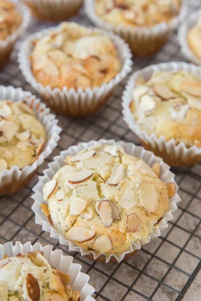A close up image of the lemon muffins as they cool