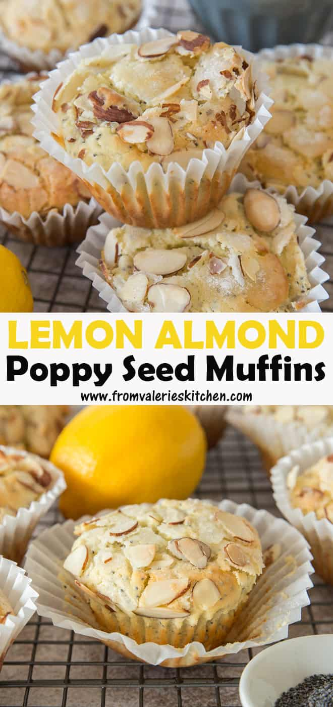 A two image vertical collage of Lemon Almond Poppy Seed Muffins with overlay text.