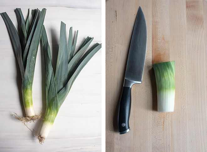Two in process images showing leeks and a single leek with the root end and dark green leaves sliced off.