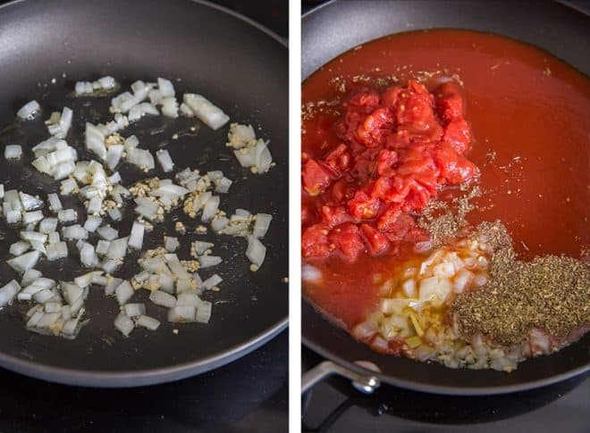 Two in process images showing onion and garlic cooking in a skillet and the remaining ingredients added in.