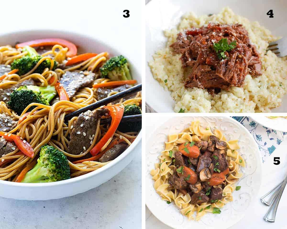 A three image collage of Beef and Broccoli Lo Mein, Slow Cooker Italian Short Ribs, and Instant Pot Beef Burgundy. Restaurant Quality Beef Recipes.