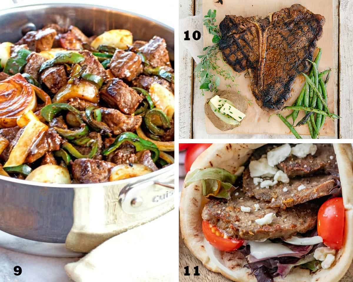 A three image collage of Teriyaki Steak Bites with Peppers and Onions, Porterhouse Steak with Cowboy Rub, and Homemade Gyros. Restaurant Quality Beef Recipes.