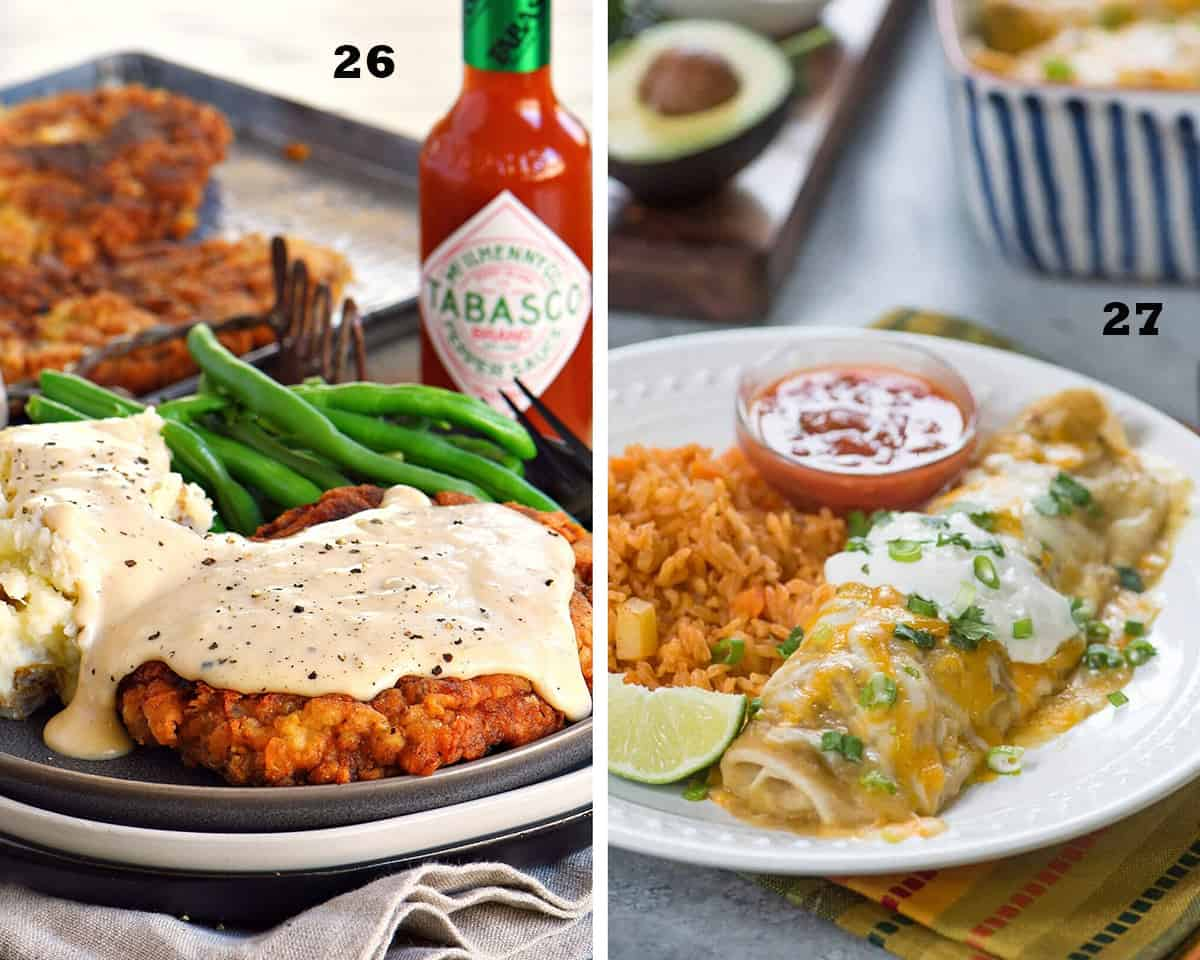 A two image collage of Chicken Fried Steak with Gravy and Green Chile Chicken Smothered Burritos. Restaurant Quality Chicken Recipes.