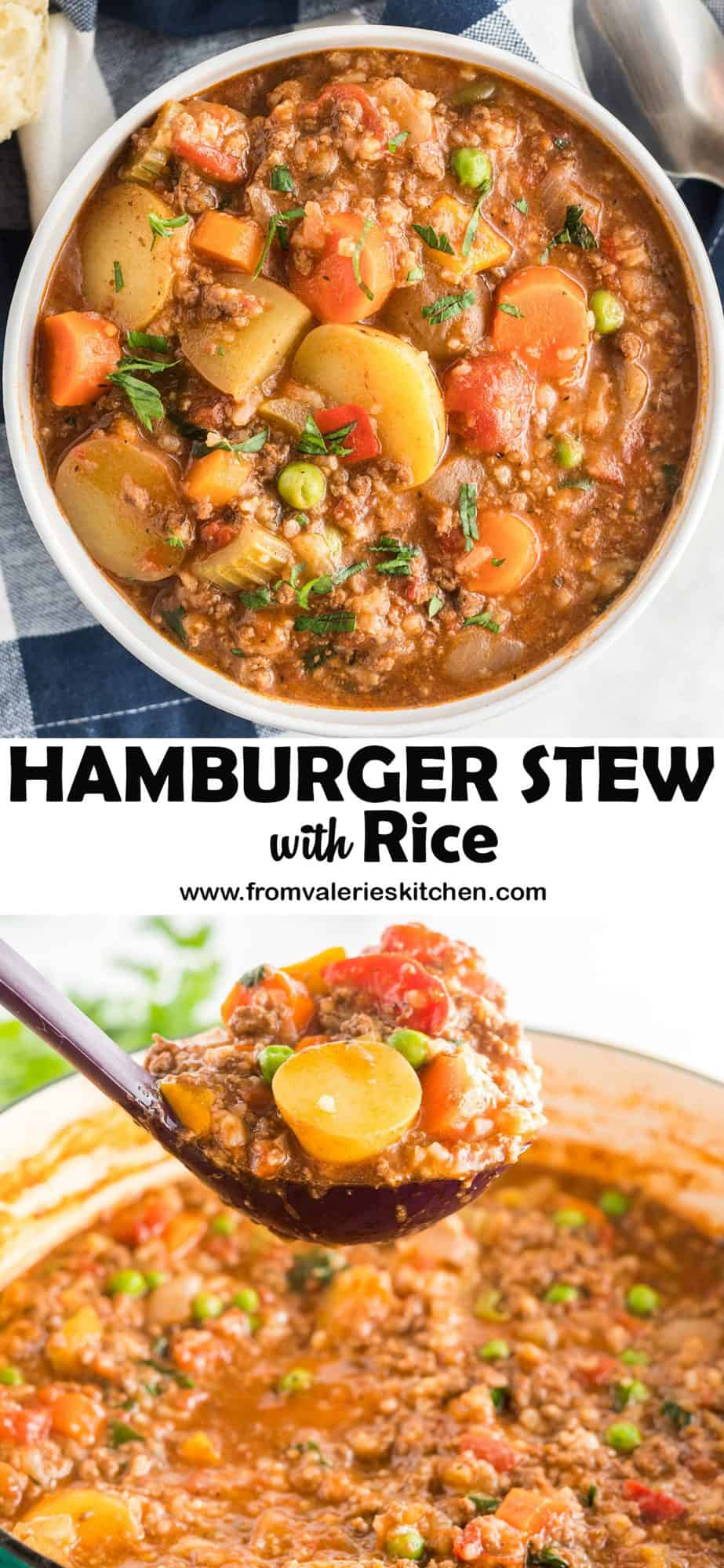 A two image vertical collage of Hamburger Stew with Rice with overlay text.