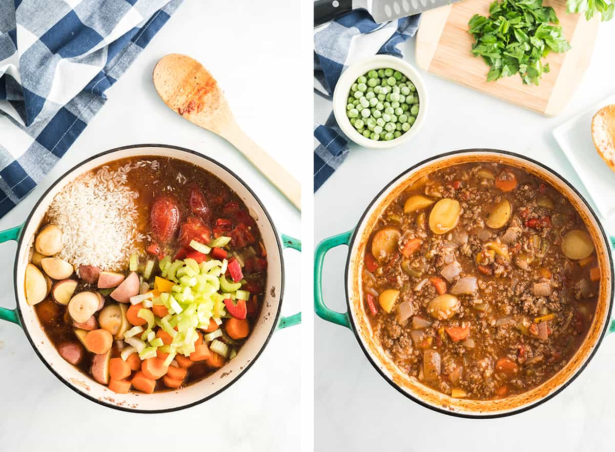Two in process images showing canned tomatoes, potatoes, carrots, celery and rice added to the Dutch oven and cooked until the rice and potatoes are tender.