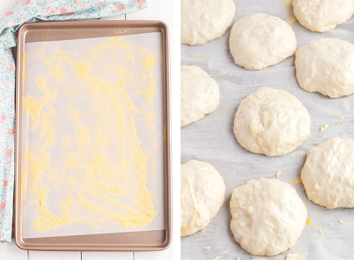 Two in process images showing a parchment paper lined baking sheet dusted with cornmeal and the shaped English muffin dough dropped on to the prepared baking sheet.