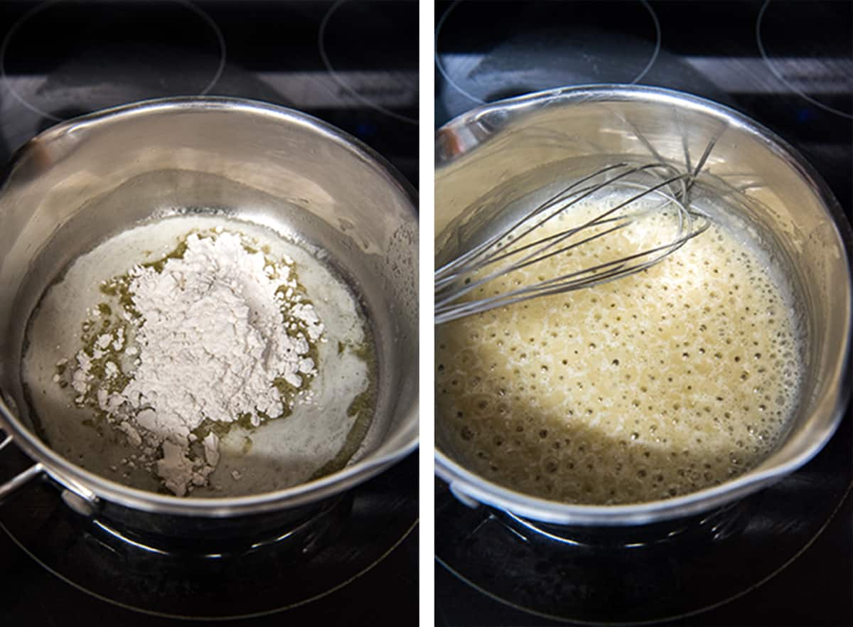 Two in process photos showing flour being whisked into melted butter in a skillet to make a roux.