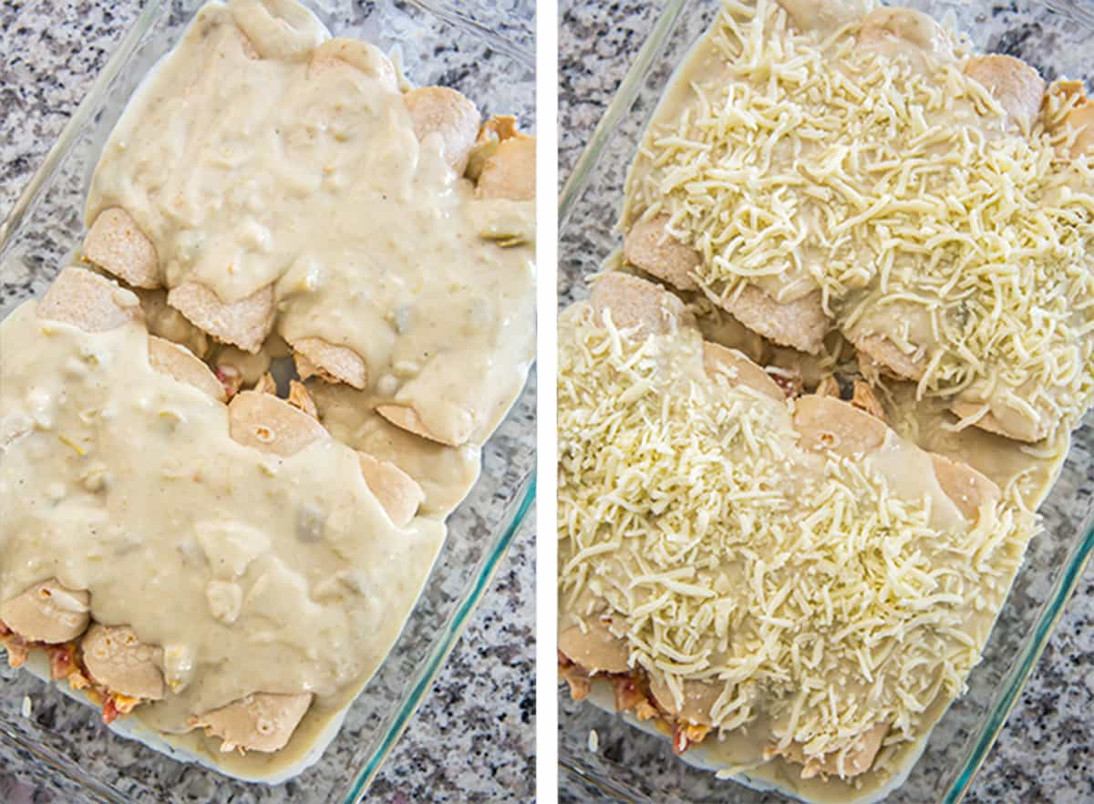 The remaining sour cream sauce is spread over the top of the enchiladas and then they are topped with shredded cheese.