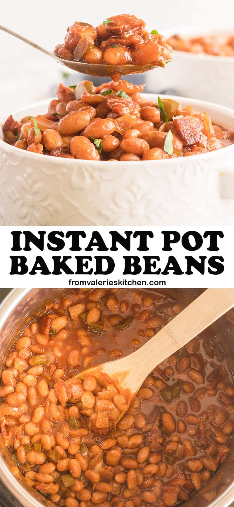 A two image vertical collage of Instant Pot Baked Beans with overlay text.