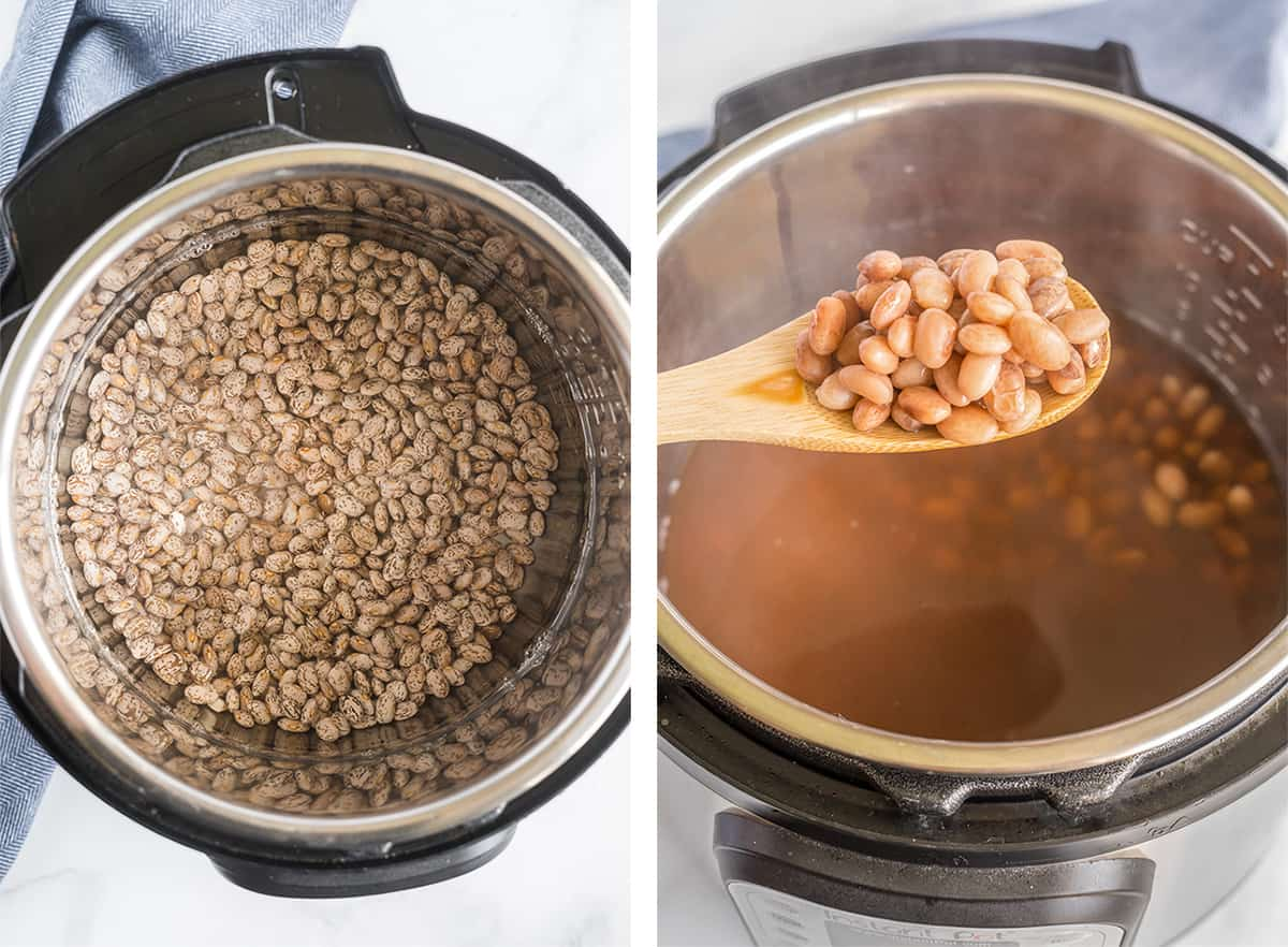 Dry pinto beans are cooked in water in an instant pot until tender.
