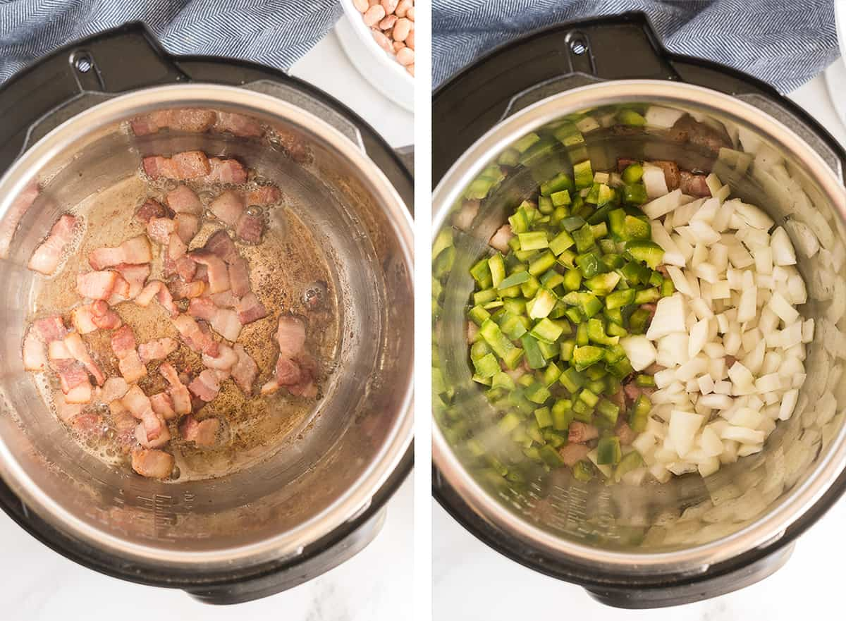 Chopped bacon and then green bell pepper, onion and garlic are sauteed in the Instant Pot.