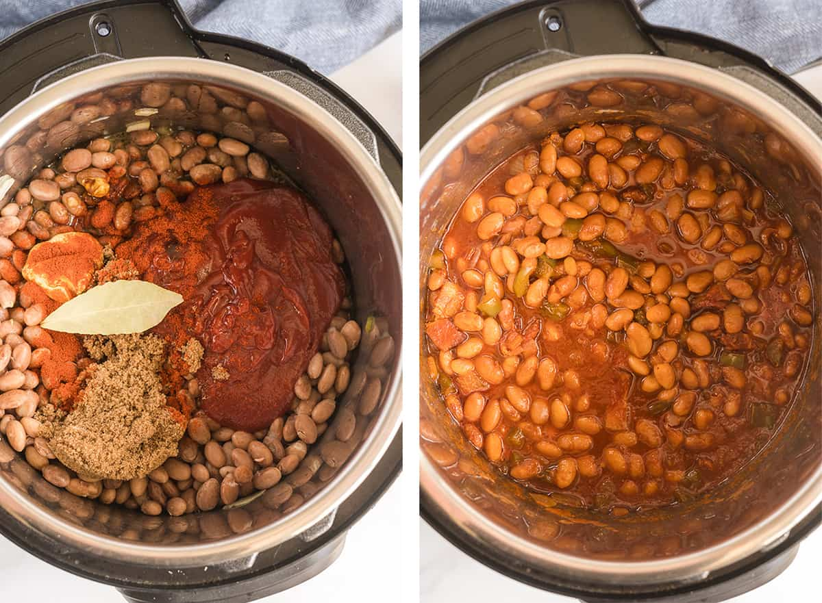 The beans and remaining ingredients are added back to the Instant Pot and cooked together.