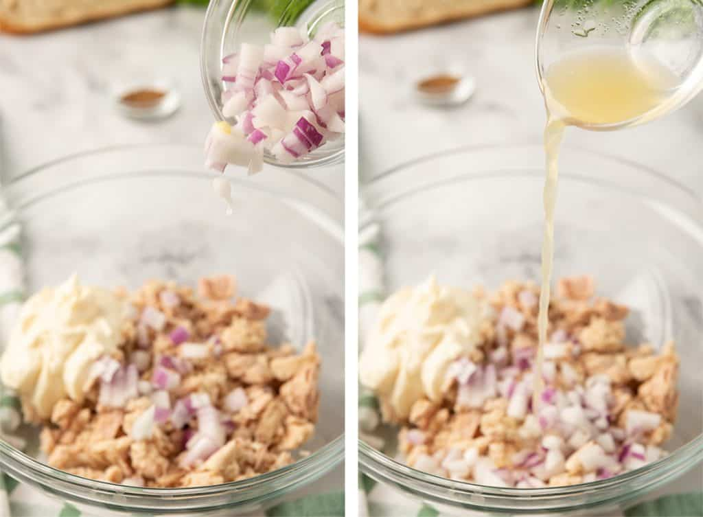 Two images showing red onion and lemon juice being added to the tuna and mayonnaise in a mixing bowl.