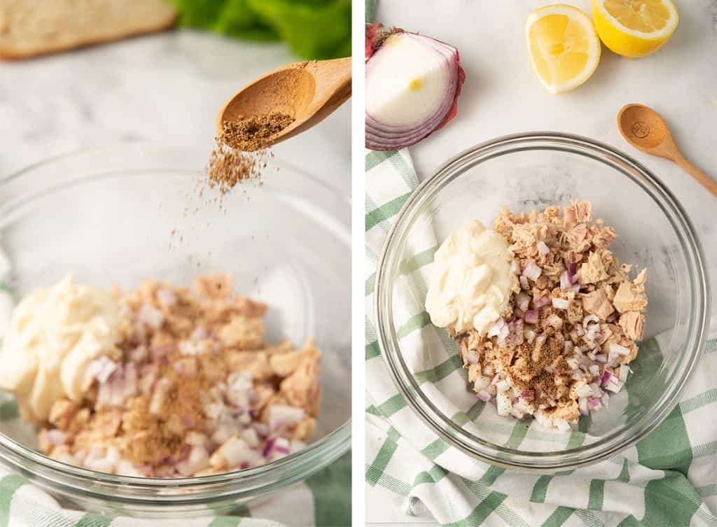 Two images showing the Lemon Pepper seasoning added to the mixture in the mixing bowl.