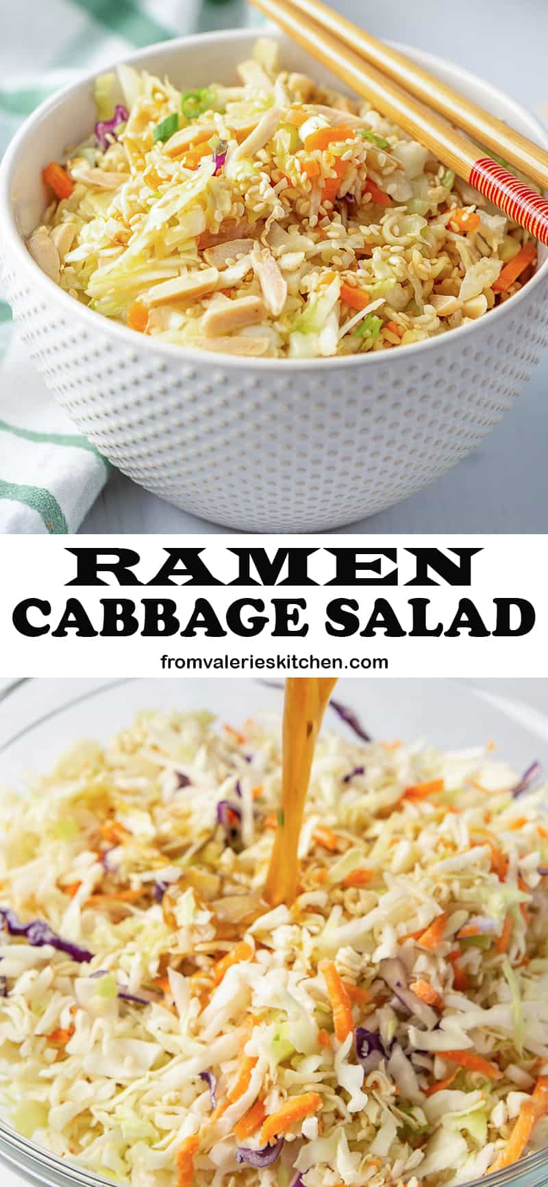 A two image vertical collage of Ramen Cabbage Salad with overlay text.