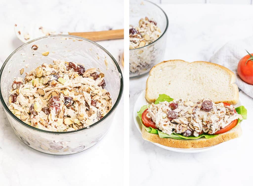 The almonds are added to the Napa Chicken Salad and a sandwich is assembled.