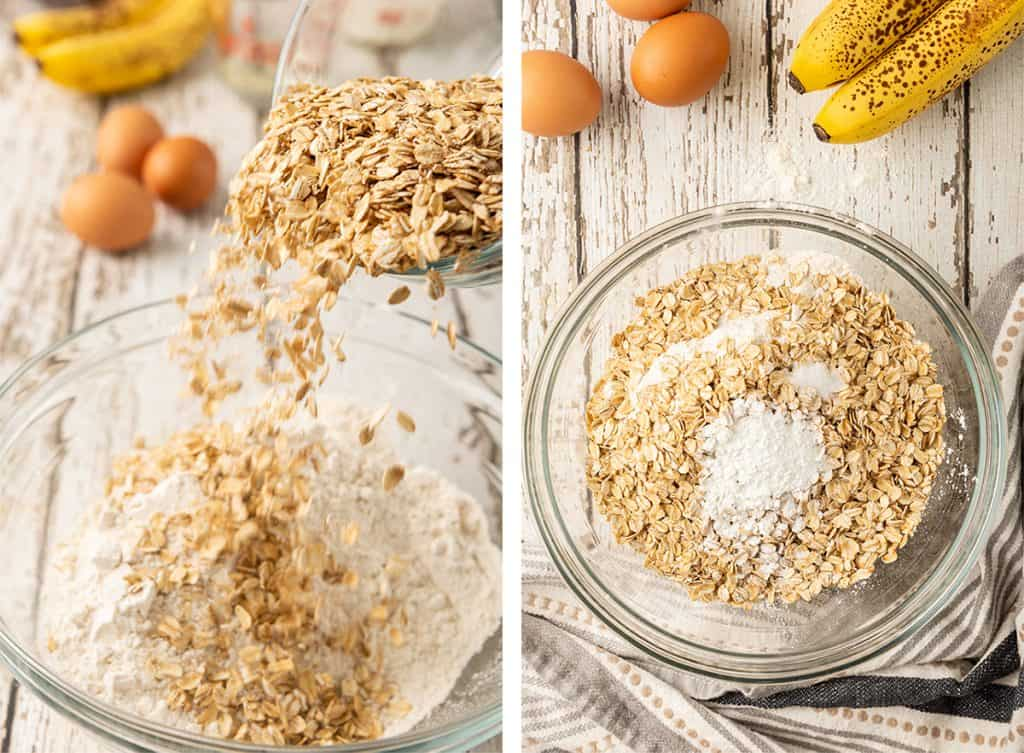 Oats being poured into a mixing bowl with flour and the remaining dry ingredients are added.