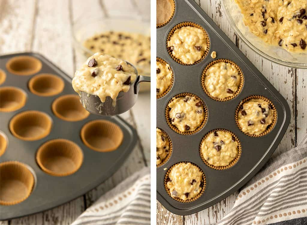 A measuring cup scoops up some muffin batter and a muffin pan full of cupcake batter.