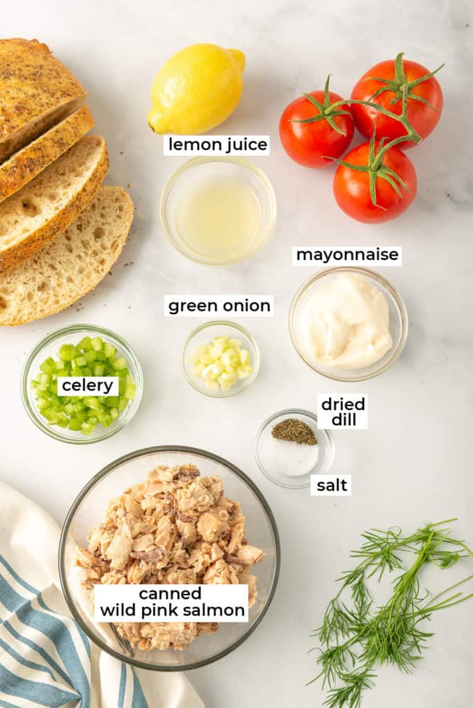 Canned pink salmon, celery, onion, and more ingredients for making salmon salad on a white surface with text overlay.