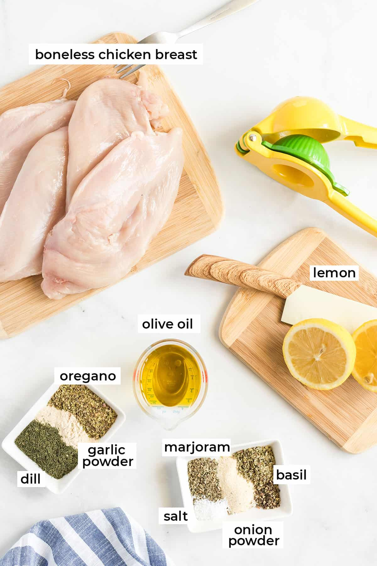 The ingredients to make Greek chicken with text overlay.