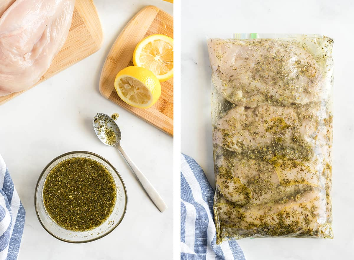 Greek chicken marinade in a small bowl and with chicken in a plastic storage bag.