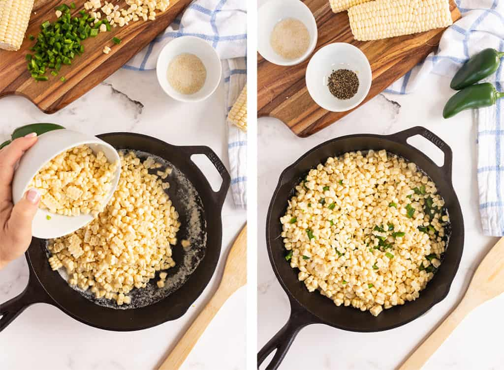 Corn is poured into a cast iron skillet.