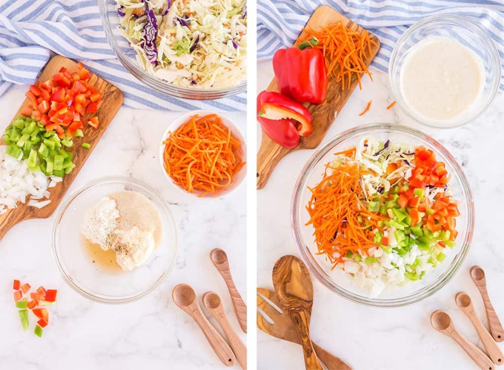 The coleslaw dressing and salad is combined in a mixing bowl.