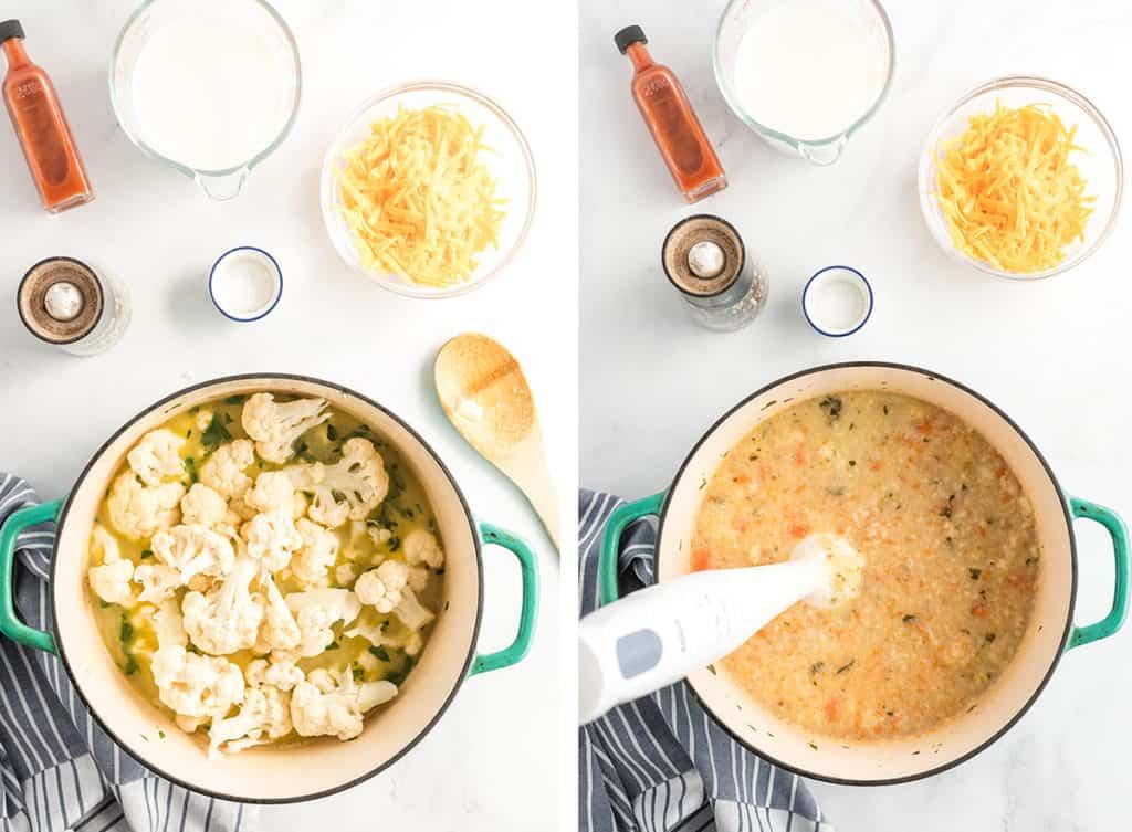 An immersion blender blends cauliflower into the soup.