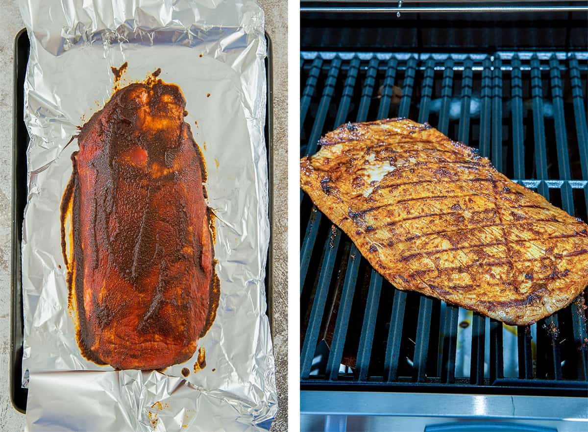 Flank steak topped with seasoning on a grill.