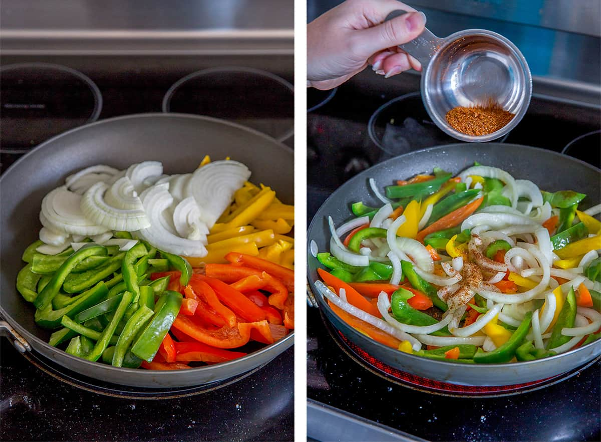 Bell peppers and onions cook in a skillet with seasoning.