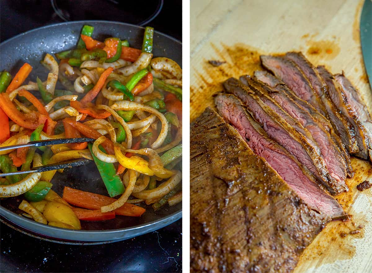 Cooked bell peppers and onions and sliced grilled beef.