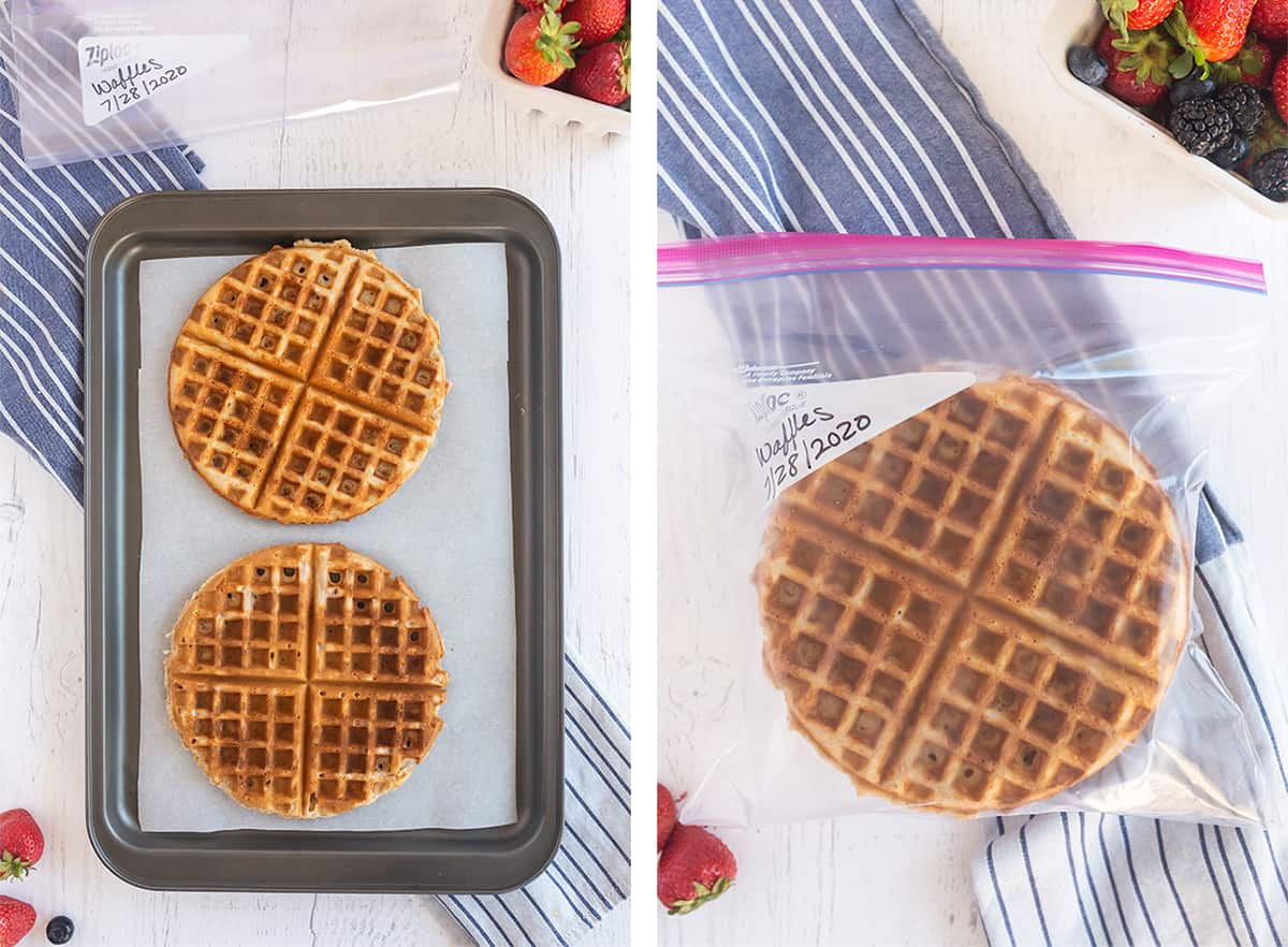Two round waffles on a parchment paper lined baking sheet and in a plastic storage bag.