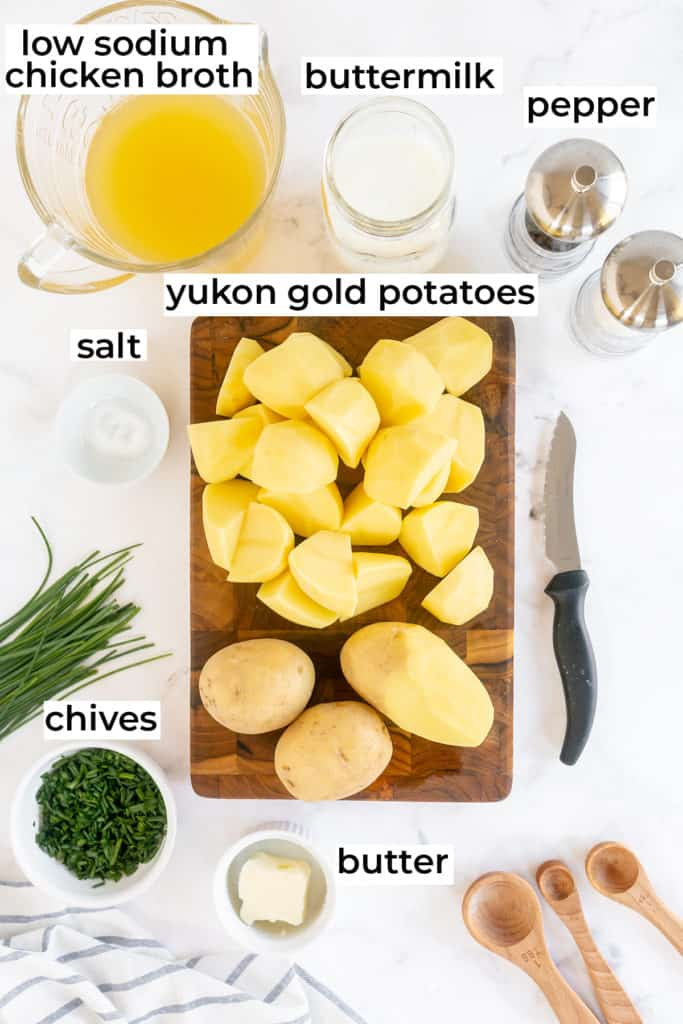 The ingredients required to make Buttermilk Mashed Potatoes