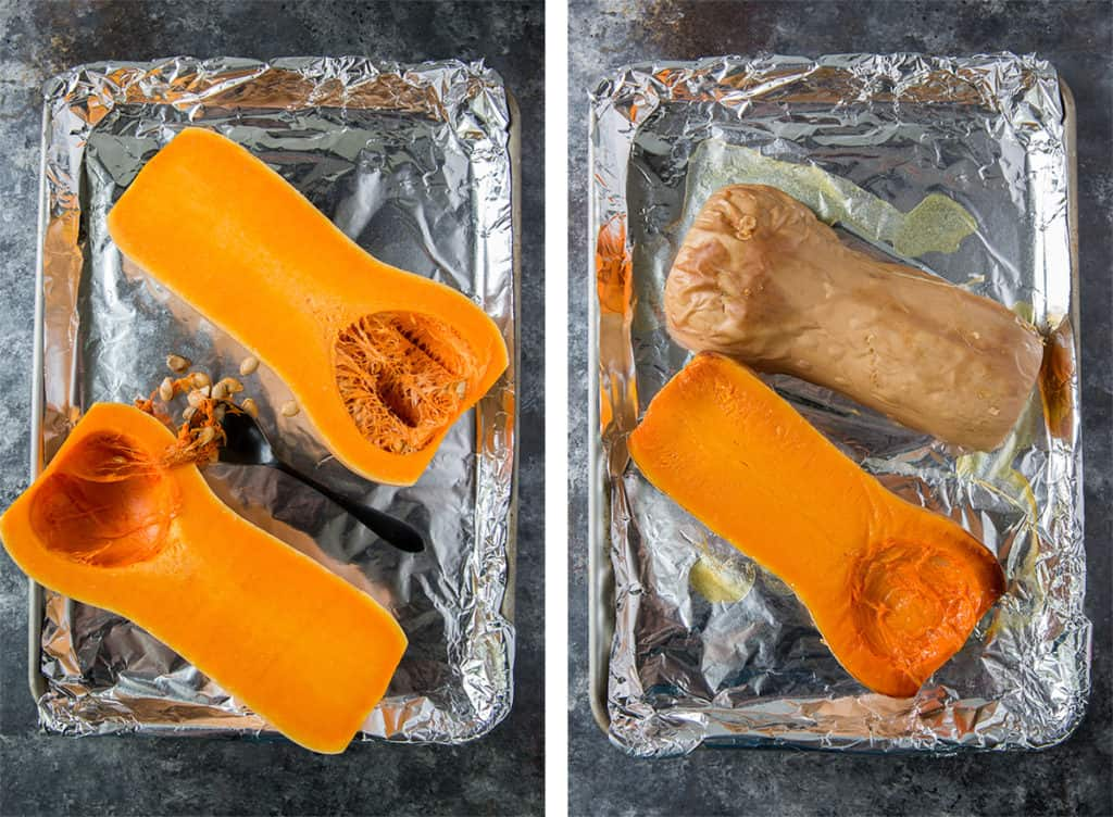 Halved butternut squash on a foil lined baking sheet.