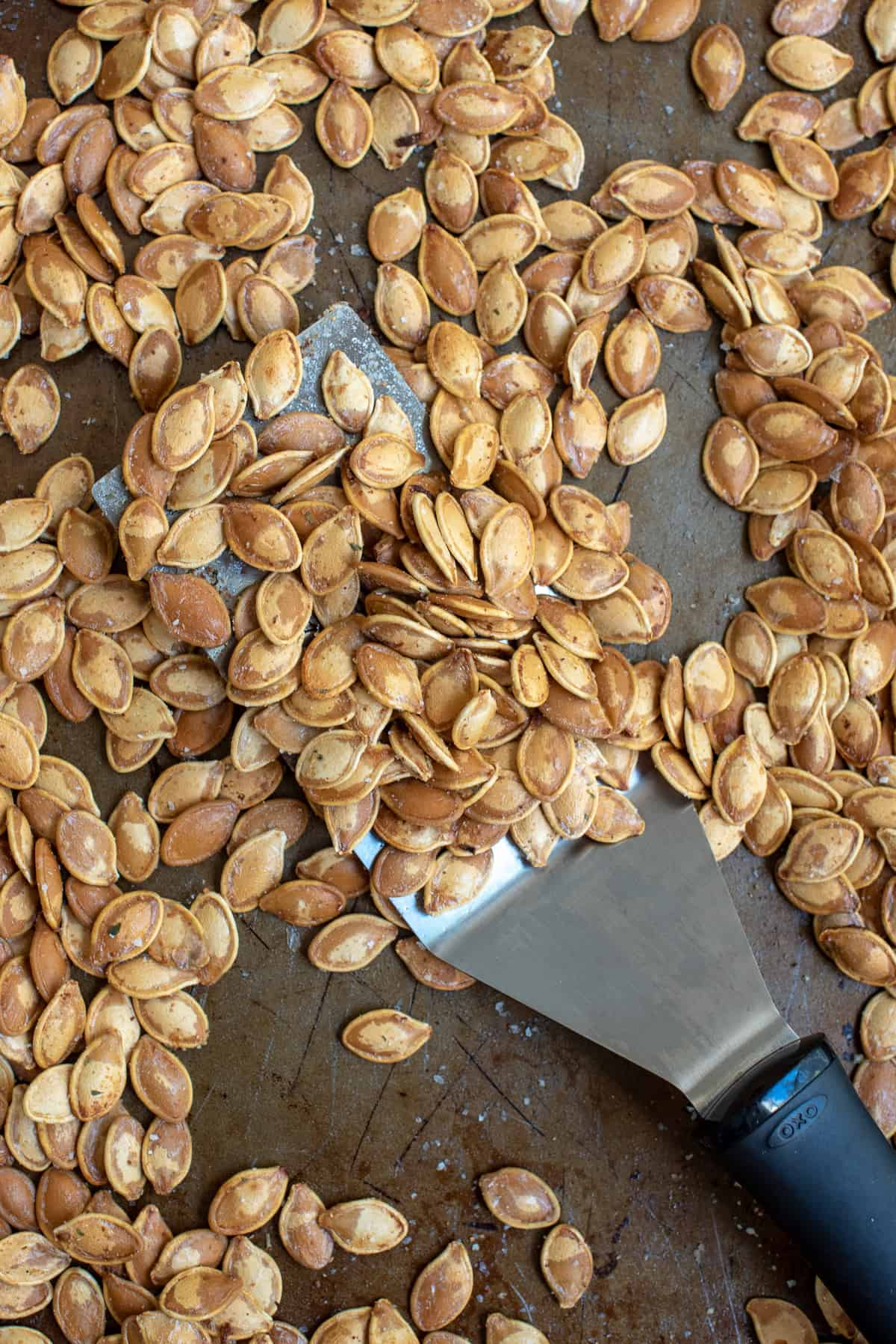 Roasted Pumpkin Seeds on a baking sheet with a spatula.