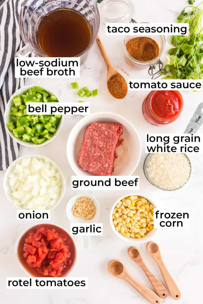 Ingredients for Spanish Rice with Ground Beef with text overlay.