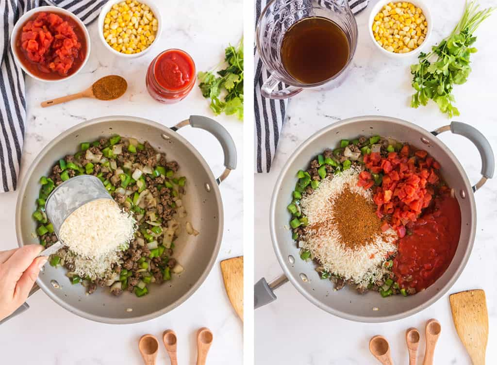Rice and other ingredients are added to a skillet.