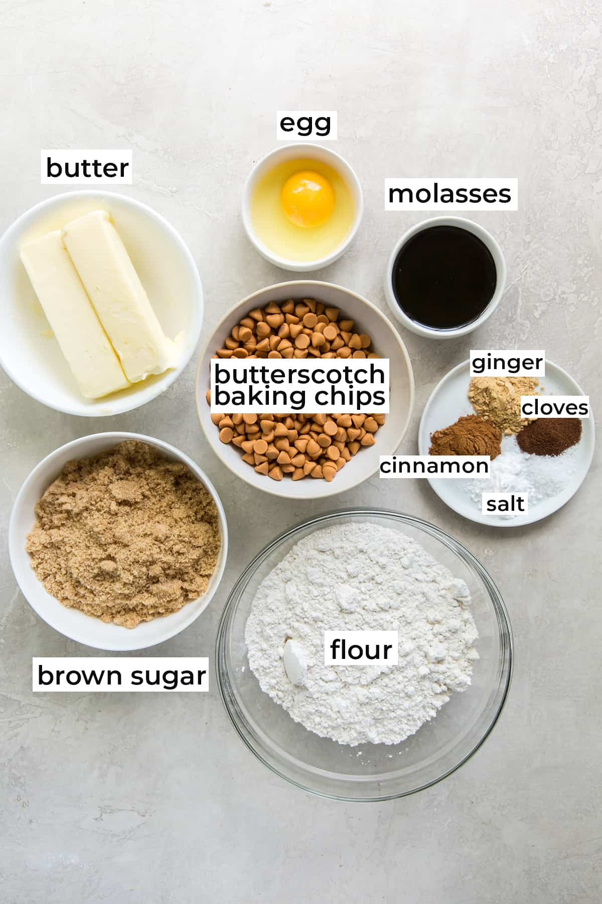All of the ingredients needed to make Butterscotch Gingerbread Cookies.