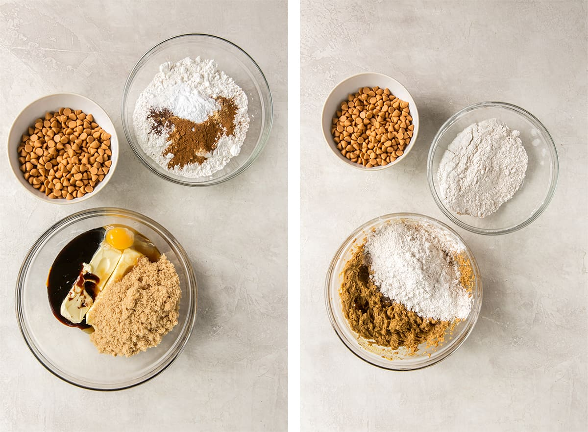 Wet and dry ingredients are combined in a glass mixing bowl.