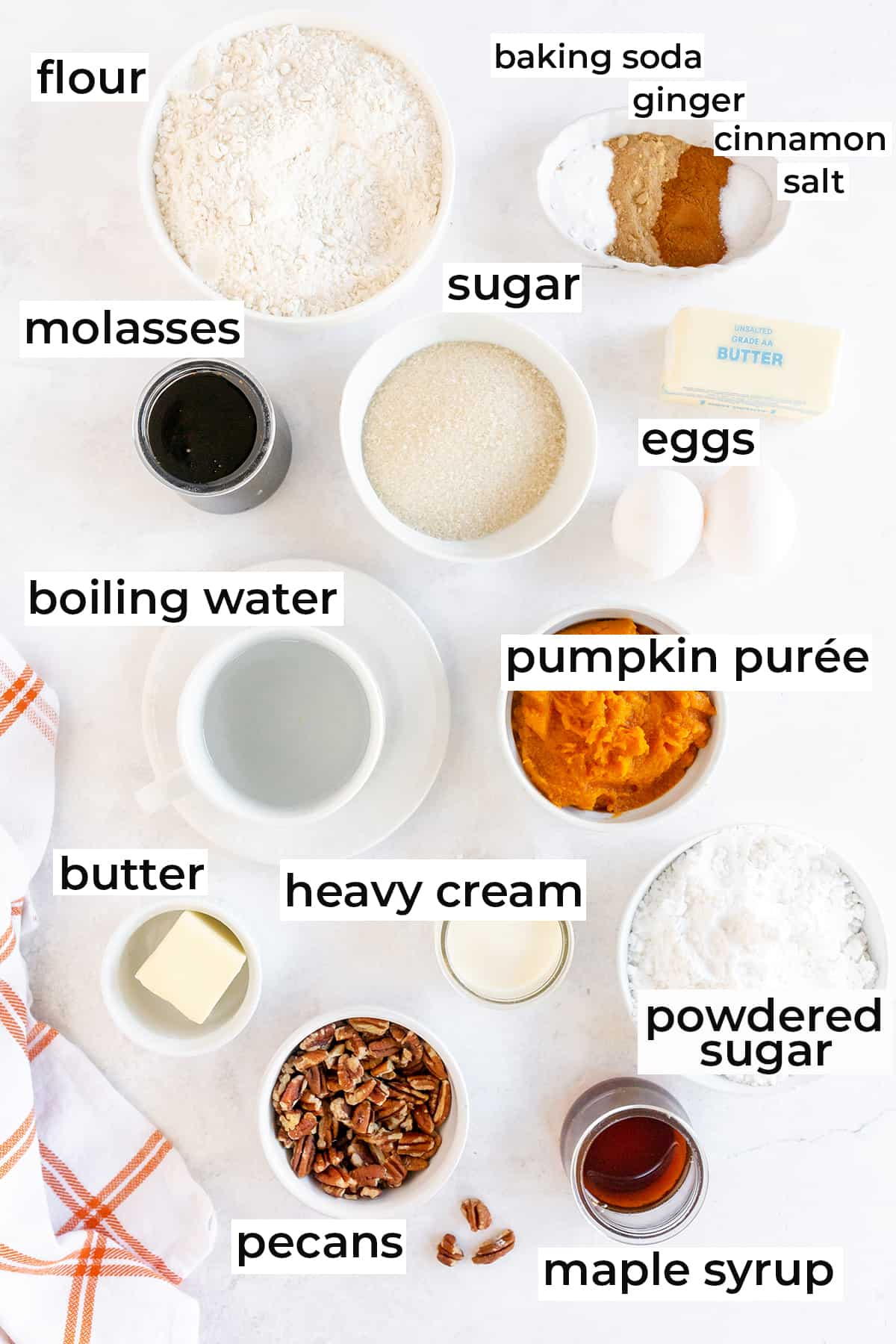 The ingredients needed for Pumpkin Gingerbread with Maple Pecan Icing.
