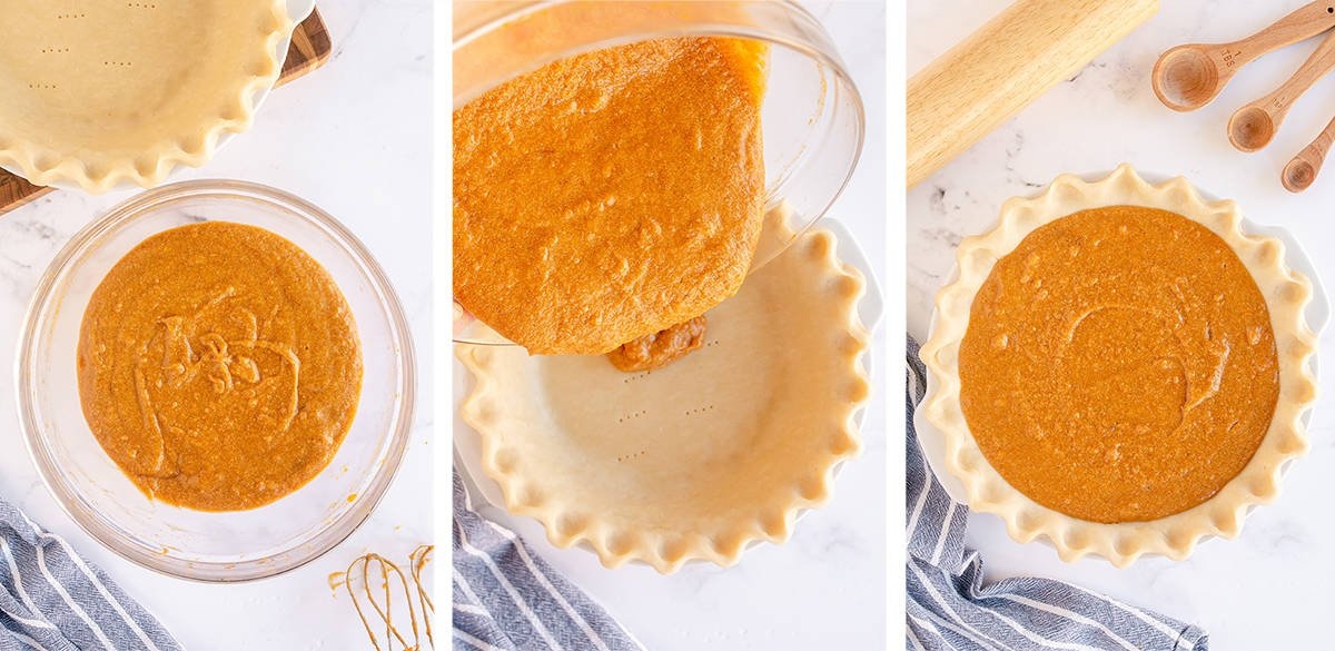 Sweet potato pie filling is poured in to a pie crust.